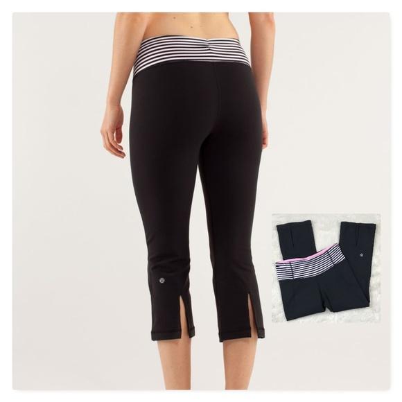 4ba74e281e1fd lululemon athletica Pants - Lululemon Gather & Crow Split Calf Capris Stripe